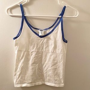 Old Navy white and blue tank top.